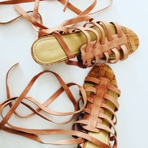 Marc Fisher Pink Suede Strappy Sandals
